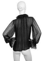 Sold - YVES SAINT LAURENT 1970s Vintage Ruffled Lurex Silk Blouse Size XS-S