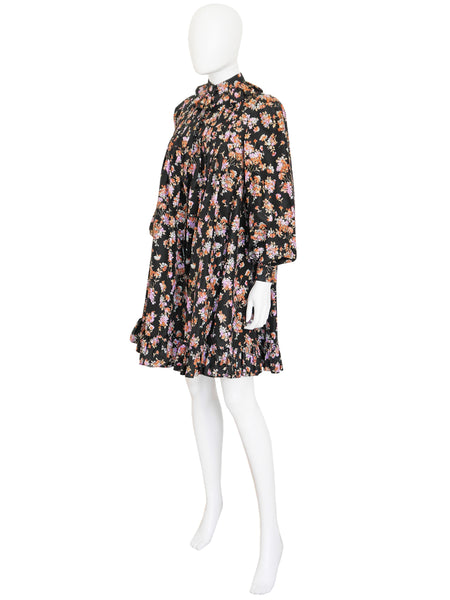 Sold - YVES SAINT LAURENT F/W 1977 Ruffled Silk Evening Coat Size XS