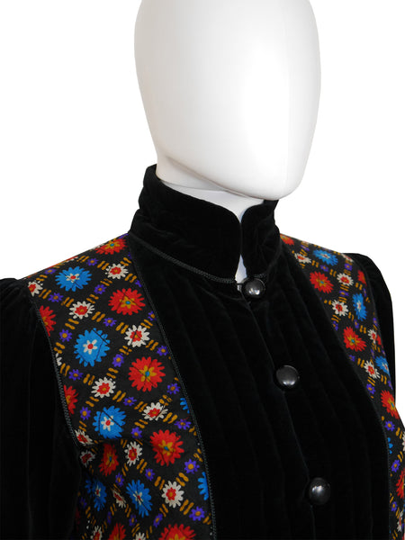 Sold - YVES SAINT LAURENT 1970s Vintage Peasant Velvet Jacket Size XS