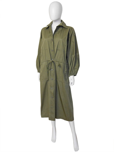 Yves Saint Laurent YSL 1970s Vintage Army Green Oversized Military Style Coat