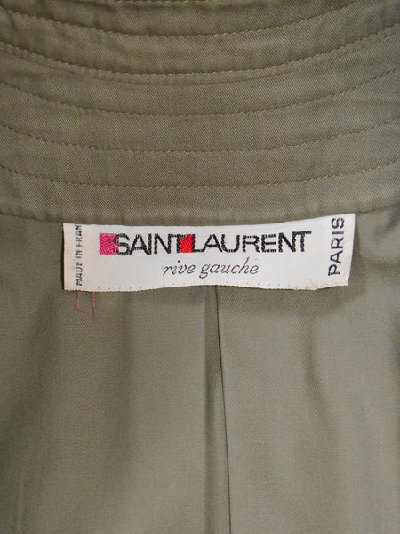 Sold - YVES SAINT LAURENT 1970s Vintage Oversized Army Coat Size S-M