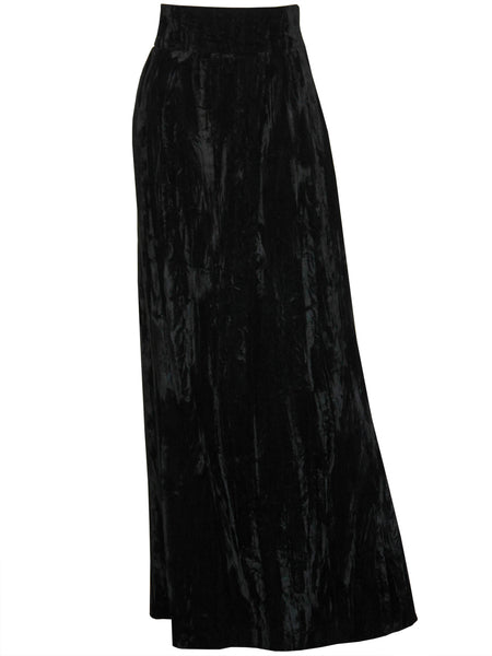 YVES SAINT LAURENT 1970s Vintage Crushed Velvet Maxi Skirt Size M