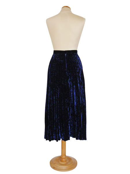 YVES SAINT LAURENT 1970s Vintage Devore Velvet Evening Skirt Size S