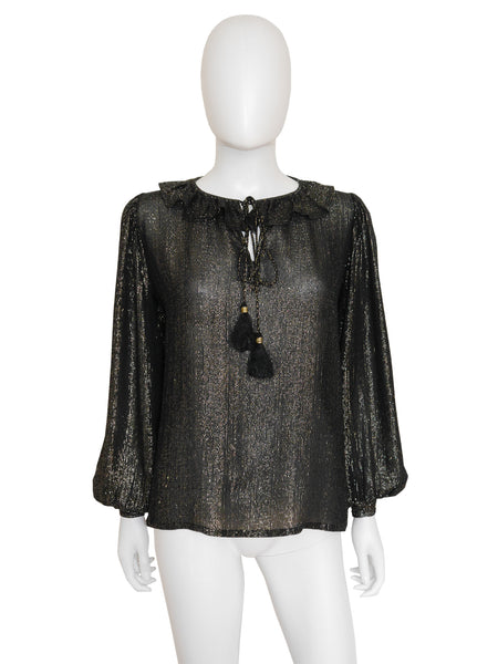 Sold - YVES SAINT LAURENT A/W 1977/78 Vintage Silk Lamé Blouse XS-S