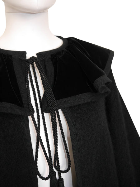 Sold - YVES SAINT LAURENT 1970s Vintage Mohair Wool Cape w/ Tassels One-Size