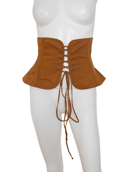 Sold - YVES SAINT LAURENT 1970s Vintage Wide Peasant Corset Belt Size XS