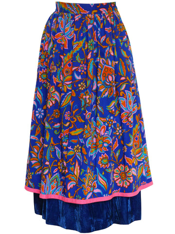 YVES SAINT LAURENT 1976 Russian Collection Skirt w/ Velvet Size XXS-XS
