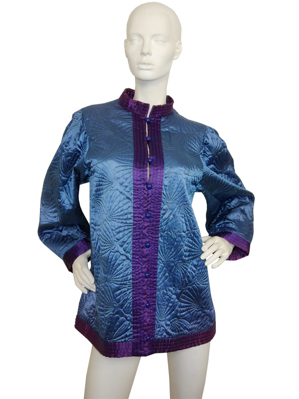 Sold - YVES SAINT LAURENT c. 1978 Quilted Silk Jacket Size S-M
