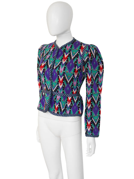 YVES SAINT LAURENT c. 1980 Documented Ikat Jacket Size S