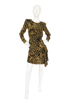 Sold - YVES SAINT LAURENT 1986 Vintage Leopard Print Silk Dress Size XS-S