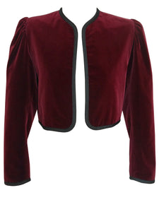 Sold - YVES SAINT LAURENT Vintage Burgundy Red Velvet Bolero Jacket M