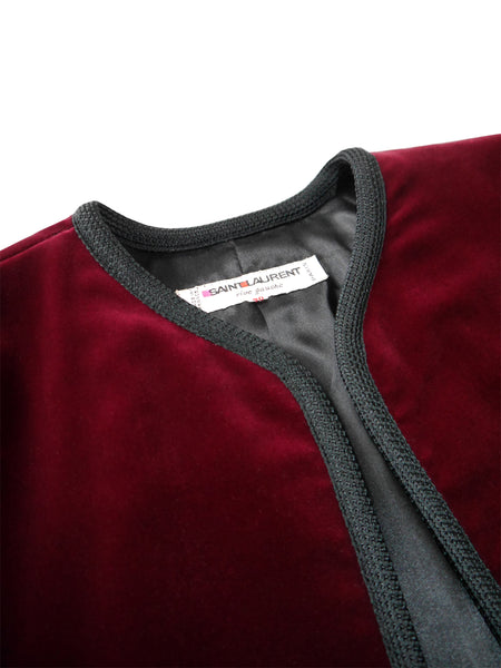 YVES SAINT LAURENT Vintage Burgundy Red Velvet Bolero Jacket M