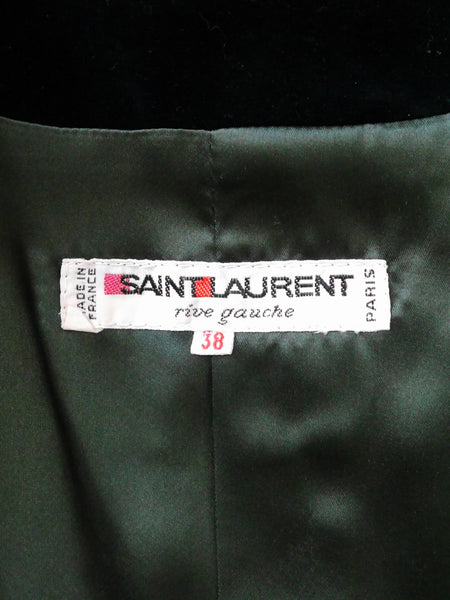 YVES SAINT LAURENT F/W 1982 Documented Velvet Suit Size XS