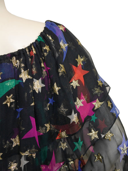 YVES SAINT LAURENT S/S 1979 Vintage Silk Dress Moon Star Print Size S