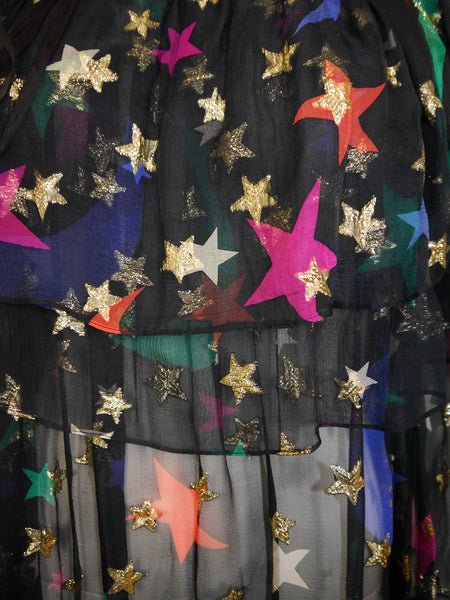 Sold - YVES SAINT LAURENT S/S 1979 Vintage Silk Dress Moon Star Print Size S