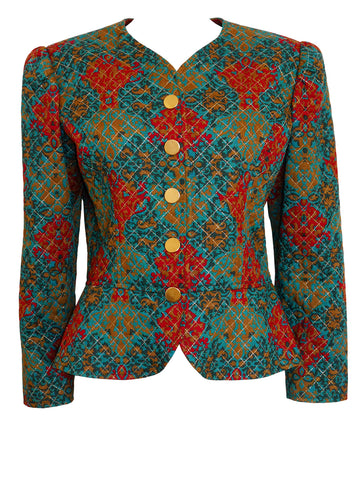 YVES SAINT LAURENT 1980s Vintage Quilted Evening Jacket Size M