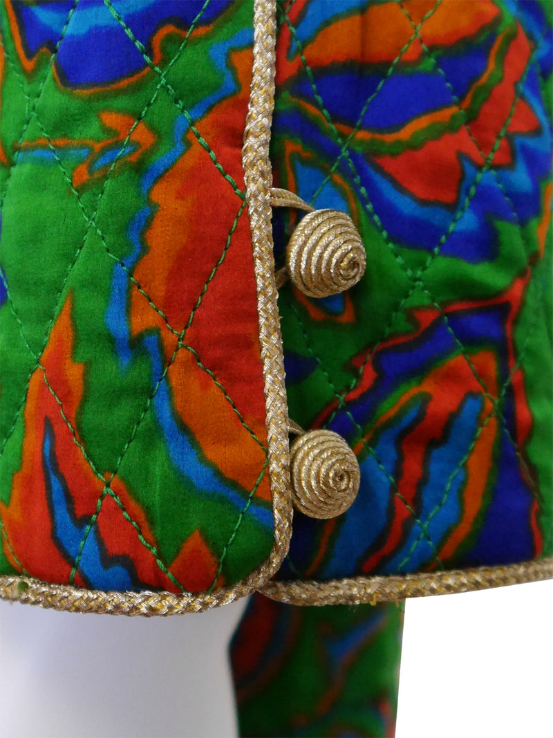 Sold - YVES SAINT LAURENT Fall 1976 Russian Collection Quilted Silk Jacket Size S