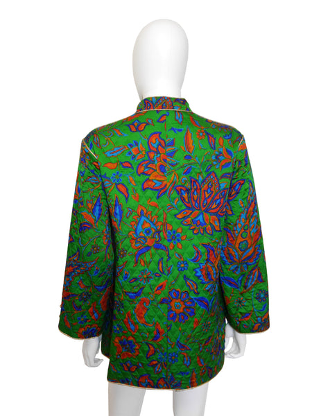 YVES SAINT LAURENT Russian Collection Quilted Silk Jacket Size S