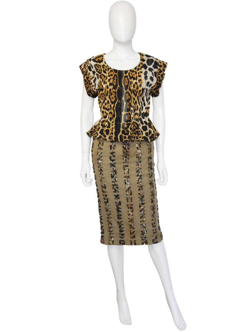 YVES SAINT LAURENT by Tom Ford Spring 2002 3 Pc. Leopard Safari Skirt Suit Size XS