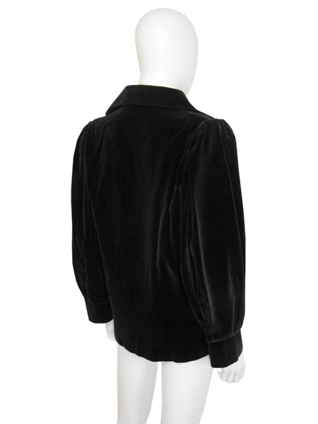 Sold - YVES SAINT LAURENT 1970s Vintage Black Velvet Jacket Size M-L