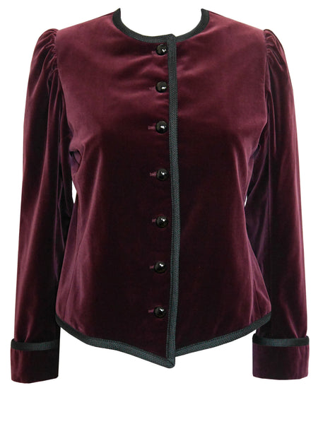 Sold - YVES SAINT LAURENT Vintage Burgundy Velvet Jacket Size XS