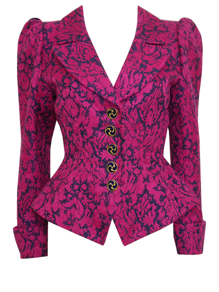 Sold - YVES SAINT LAURENT 1990s Vintage Brocade Evening Jacket Size S