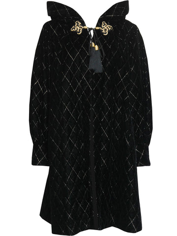 YVES SAINT LAURENT c. 1977 Hooded Velvet Coat Size M-L