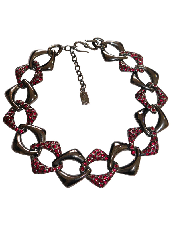 YVES SAINT LAURENT Vintage Statement Necklace Gunmetal & Red Rhinestones