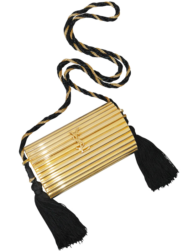 Sold - YVES SAINT LAURENT Vintage OPIUM Minaudière Gold Tassel Evening Handbag
