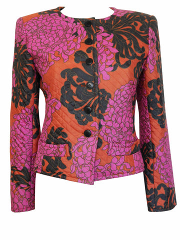 YVES SAINT LAURENT 1980s Vintage Quilted Silk Jacket Size XS