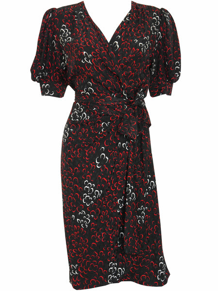 Sold - YVES SAINT LAURENT 1970s 1980s Vintage Silk Wrap Dress Size S-M