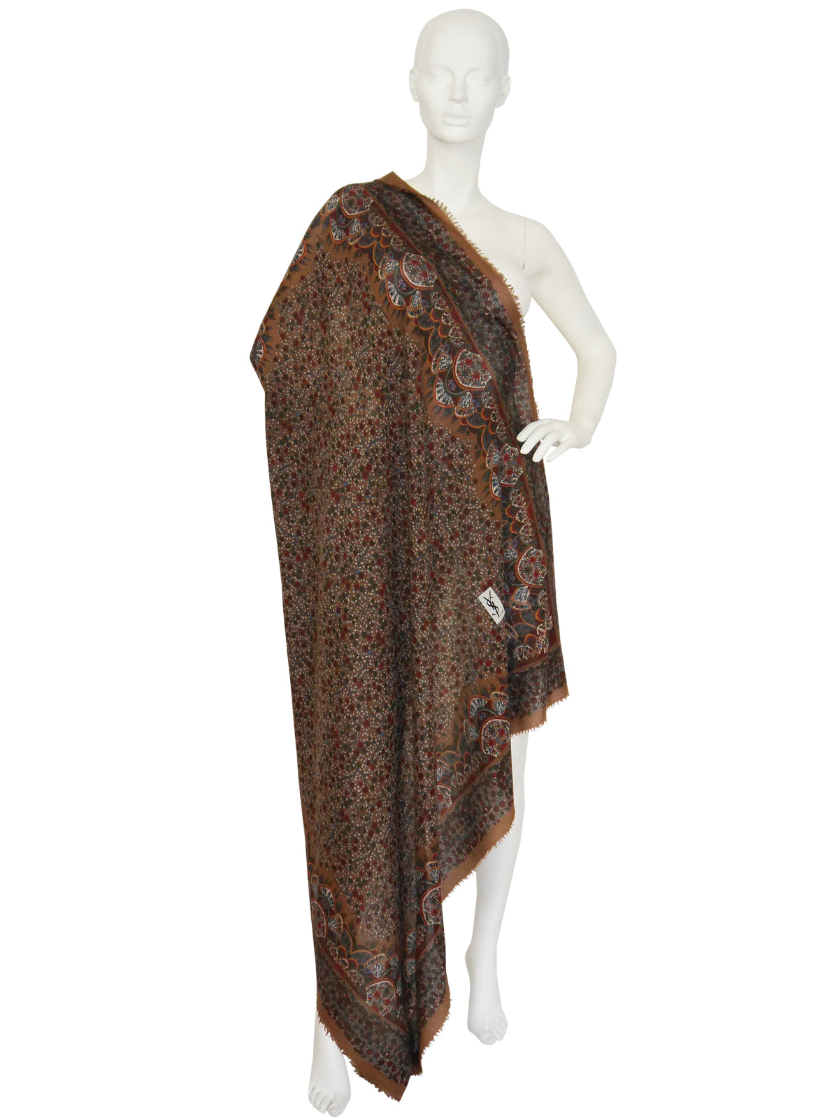 Sold - YVES SAINT LAURENT Huge Printed Wool Scarf Brown 128 x 126 cm