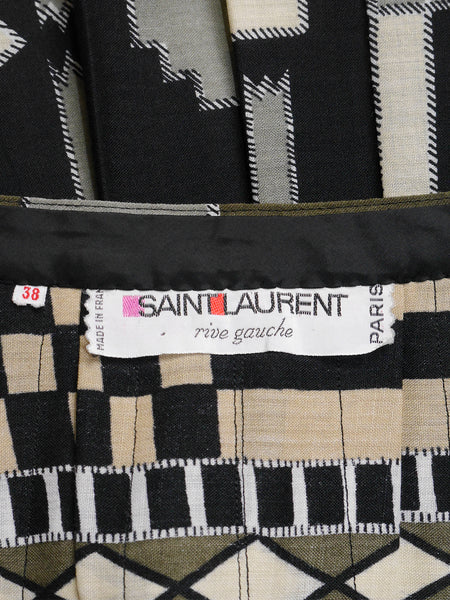 Sold - YVES SAINT LAURENT c. 1971 Vintage Documented Pleated Maxi Skirt Size XS