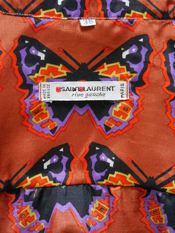 Sold - YVES SAINT LAURENT c. 1971 Vintage Butterfly Print Silk Blouse Size XXS-XS