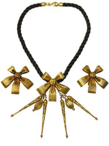 Sold - YVES SAINT LAURENT 1970s Vintage Jewelry Set Bow Choker Necklace & Clip-On Earrings