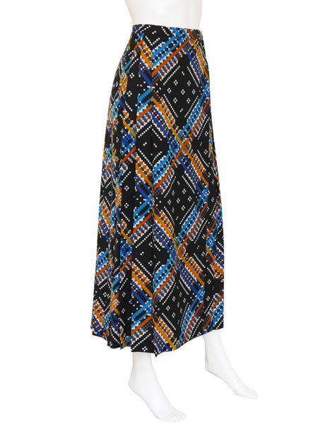 YVES SAINT LAURENT c. 1970/71 Vintage Pleated Maxi Skirt Size XXS