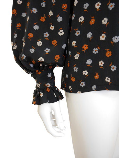 Sold - YVES SAINT LAURENT F/W 1977 Documented Ruffled Silk Blouse Size XS