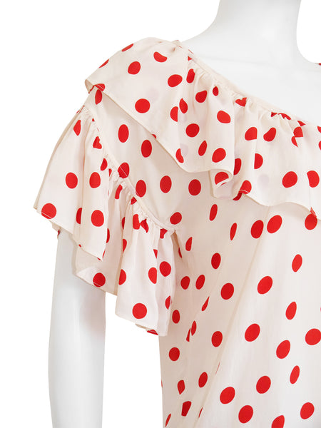 YVES SAINT LAURENT 1970s 1980s Vintage Ruffled Polka Dot Silk Blouse Size S