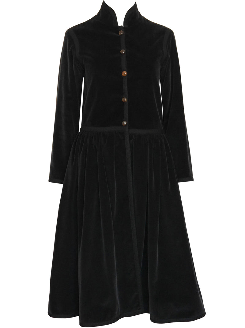 Sold - YVES SAINT LAURENT A/W 1976/77 Russian Collection Black Corduroy Coat Size XS