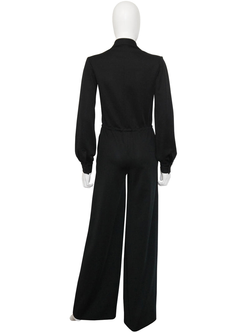 YVES SAINT LAURENT Fall 1975 Vintage Documented Overall Jumpsuit w/ Tassel Belt Size XS
