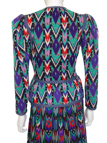Sold - YVES SAINT LAURENT c. 1980 Documented Ikat Skirt Suit Size S