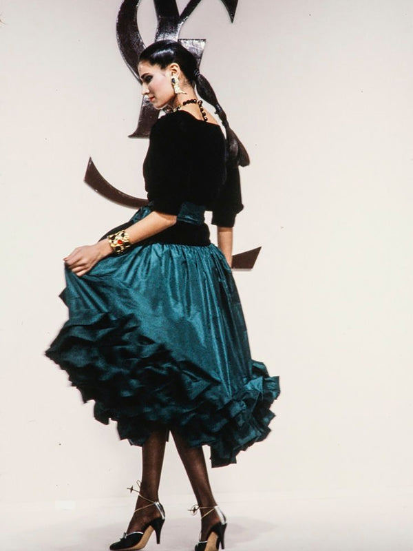 Sold - YVES SAINT LAURENT Fall 1982 Vintage Silk Taffeta Evening Skirt Size S