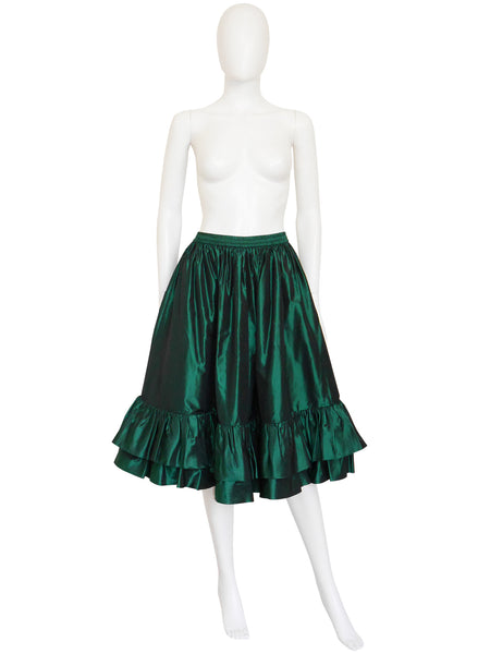 YVES SAINT LAURENT F/W 1982 Vintage Silk Taffeta Evening Skirt Size S