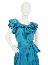 Sold - YVES SAINT LAURENT Vintage Silk Taffeta Ruffle Evening Set Size XS
