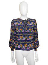 Sold - YVES SAINT LAURENT c. 1970 Vintage Floral Silk Blouse XS