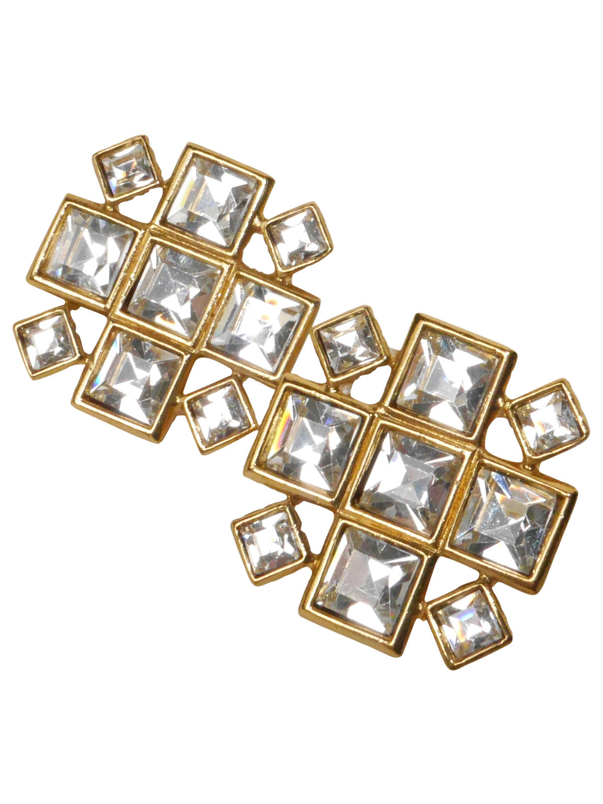 Sold - YVES SAINT LAURENT Vintage Clip-On Earrings Gold Crystal Rhinestones