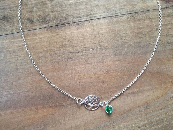 Silver Tree of Life Necklace, and Emerald Green Cubic Zirconia charm, May Birthstone gift