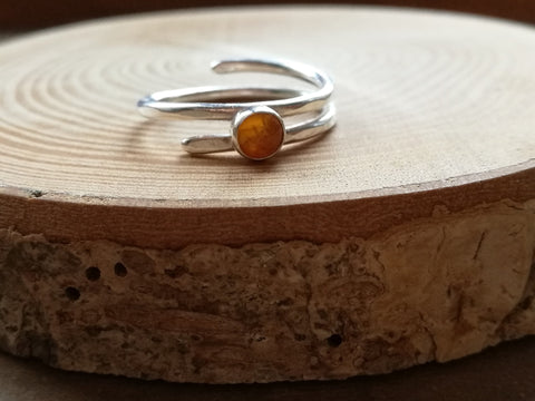 Sterling Silver and Amber twist ring, bezel set cabochon gemstone, boho style handmade ring