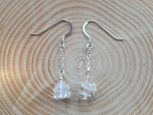 Handmade Sterling Silver Earrings, with Ice White Quartz gemstone beads, April Birthstone gift