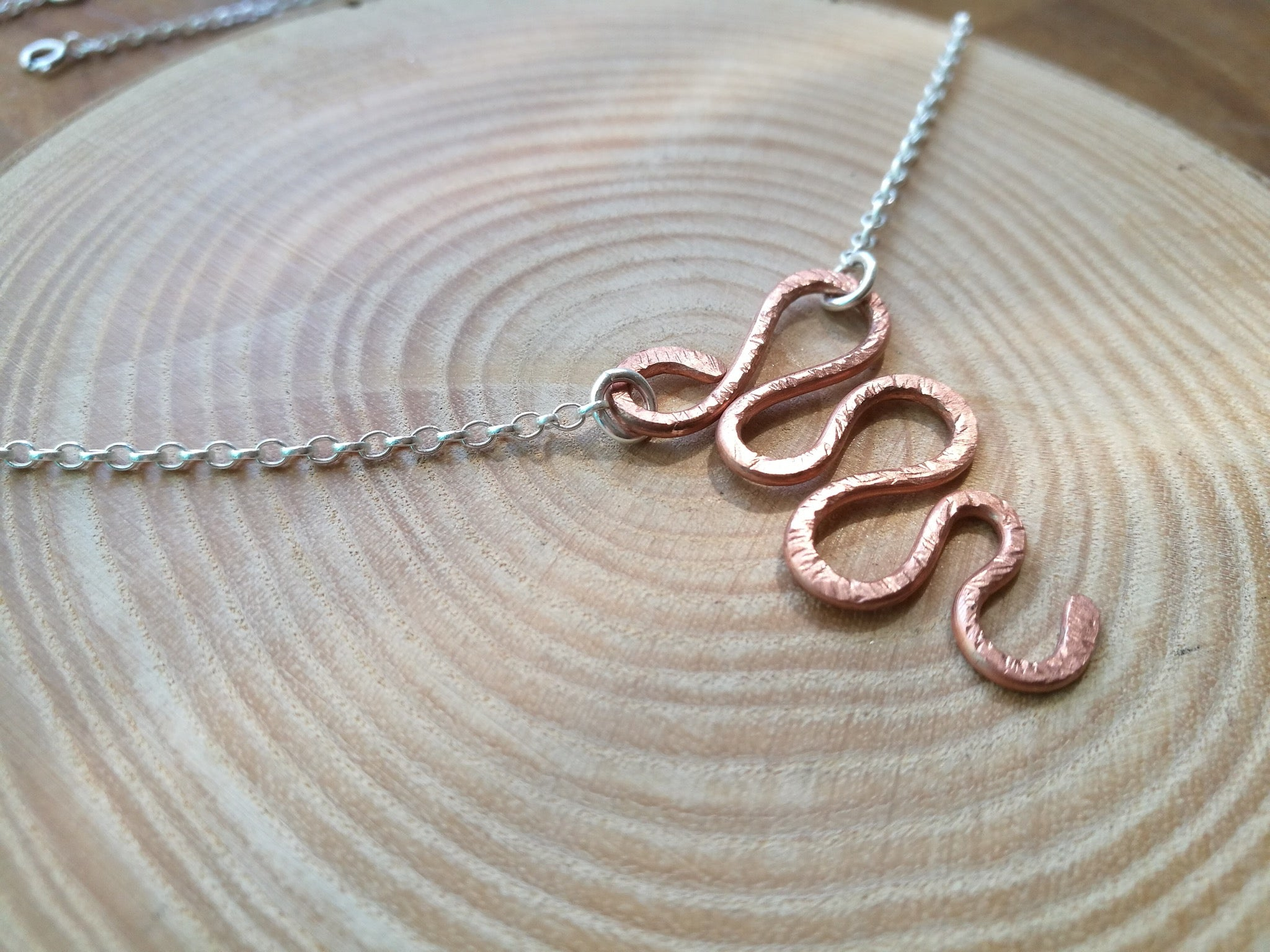 Handmade Sterling Silver rolo chain Necklace, with Copper swirl pendant